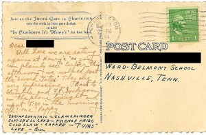 Nov 1944 penny postcard from Em & Pappy Charleston, SC