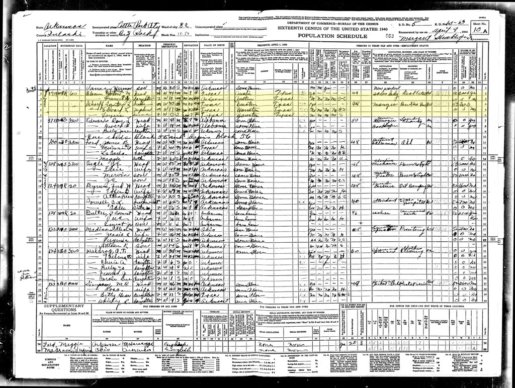 1940 US Census,Em & Pappy as yet unmarried