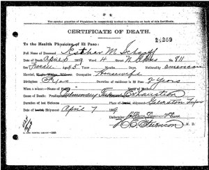 Esther Marx Scharff Death Certificate, click to enlarge