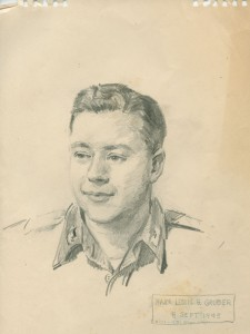 Maj. Leslie Gruber, 8 Sep 1945 sketch by James Burnley