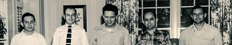 (L-R) Leonard Ghertner, Ben Levy, Leslie Gruber, Abe Rosen, EL Scharff circa 1950