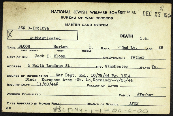 Morton I Bloom Jewish Serviceman Card