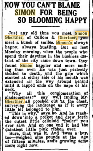 Simon Ghertner happy at Alven's birth 26 Apr 1914